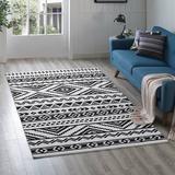 Ivy Bronx Shaun Geometric Moroccan Tribal Area Rug Polyester in Black/White, Size 96.0 H x 60.0 W x 0.5 D in   Wayfair IVBX6316 45103243