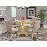 Alcott Hill® Lupe 5 - Piece Drop Leaf Solid Wood Rubberwood Dining Set Wood/Upholstered Chairs in Brown, Size 29.5 H in | Wayfair