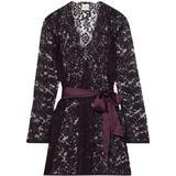 Walk Satin-trimmed Leavers Lace Robe - Purple - Myla Nightwear