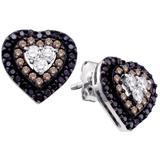 Diamond Heart Cluster Earrings In 14k White Gold - White - Cosanuova Earrings