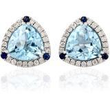 18kt Gold Blue Sapphire Topaz Stud Earrings Jewelry - Blue - Artisan Earrings