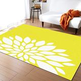 Olivefox Rugs Dahlia on Yellow Area Rug Non-Slip Stain-Proof Accent Area Rug for Bedroom Living Room Home Decoration, 3x5 Feet Soft Rectangle Carpet Super Absorbent