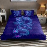 FOLPPLY Duvet Cover Set, California King Bedding Set 3 Pieces, Retro Blue Chinese Dragon Clouds Comforter Sheet Set with Pillow Shams Room Decor for Boys Girls Teens Adults
