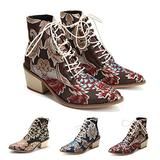Women's Vintage Ankle Boots Embroidered Low Block Heel with Pointed Toe Lace up Ankle Bootie for Women Floral Dress Short Booties Chunky Stacked Block Heels Cowboy Boots Red 7.5
