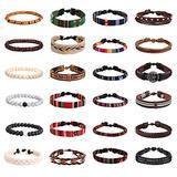 Finrezio 24 Pcs Braided Bracelet Set Men Women Handmade Jewelry String Beads Leather Wristbands Boho Ethnic Tribal Linen Hemp Cords Wrap Bracelets