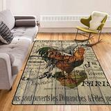 French Barn Wood Grain Western Country Farmhouse Rooster Modern Area Rugs Home Decorative Rugs Yoga Mat Floor Carpets Mat Home Decor for Bedroom Living Playing Room