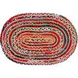 Jaipur Handloom Cotton Area Rug Rag Rug Bohemian Multicolor Hand Braided Reversible Chindi Rug Rag Recycled Floor Rug (2x3 Feet Cotton Multi Chindi + Natural Jute(Oval), Multi Chindi + Natural Jute)
