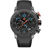 LIV Swiss Watches GX1 Sky Blue Analog Display Chronograph Casual Watch for Men; 45 mm Stainless Steel with Date Calendar; 660 feet Water Resistant - Sky Blue on Black Silicone