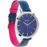 Montmartre Silver Watch With Royal Blue & Hot Pink Leather Strap - Metallic - Auree Jewellery Watches