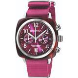 Briston Clubmaster Classic Chronograph Tortoise Shell Acetate, Sunray Cardinal Grape Dial - Red - Briston Watches