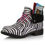 DailyShoes Low Ankle Women Boots Ankle Pocket Boot Lace Up Side Zip Booties Fashion Closed Toe Dress Boots Shoes Money Wallet Zebra,sv,9, Shoelace Style Pink