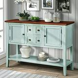 GAOPAN Leisure Zone Buffet Sideboard Style Wood Console Table with Bottom Shelf, Storage Cabinet & Drawers for Living Room/Kitchen/Entryway (Retro Blue)