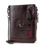 HFDJ Fashion Men's Leather Wallet, Three-fold Multi-Card Slot Leather Wallet with Zipper RFID Blocking Leather Dual-use Foldable Wallet-Double Zipper Credit Card Wallet, Large-Capacity Travel Wallet