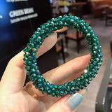 Crystal Beads High Elastic Hair Bands for Women Glitter Hair Scrunchies Flower Bows for Girls Ponytail Holder Hair Accessories