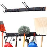 Homeon Wheels Tool Storage Rack, Wall Mount Tools Home and Garage wall Organization,Heavy Duty Solid and Save Space with 6 Hooks Easily Hold 300 lbs,For Shovel,Home Tools or Garden Tools