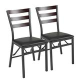 2 Pcs Folding Dining Chair Metal Frame PU Leather Home Restaurant Furniture by MASAT