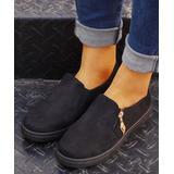 ROSY Women's Sneakers Black - Black Zip-Accent Sneaker - Women