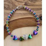 BeSheek Women's Bracelets - Multicolor Hematite & Crystal 'Love' Heart Beaded Bracelet