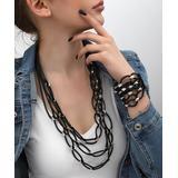 YUSHI Women's Bracelets SILVER - Leather & Fine Silver-Plated Statement Necklace & Bracelet
