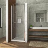 ELEGANT 32 In. W X 72 In. H Pivot Swing Shower Door, 3/16 In.Clear Glass Frameless Shower Door, Chrome Finish Tempered Glass | Wayfair EL-FP32