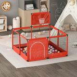 Furniture Friend Portable Children's Playpen Baby Safety Fence w/ Basketball Board, Mesh/Plastic in Red/Blue, Size Medium (3' - 5') | Wayfair