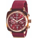 Briston Clubmaster Classic Chronograph Tortoise Shell Acetate, Red Sunray Dial And Rose Gold, Burgundy Nato Strap - Red - Briston Watches