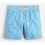 "8"" Swim Trunk In Gingham Seersucker - Blue - J.Crew Beachwear"