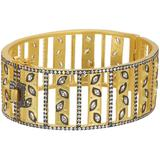 14k Gold & Rhodium Clad Fleur Bloom Petal Bangle In Black And Gold At Nordstrom Rack - Metallic - Freida Rothman Bracelets