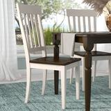 Winston Porter Minersville Solid Wood Slat Back Dining Chair in Chalk White/Cocoa BeanWood in Brown/White, Size 41.5 H x 19.0 W x 22.75 D in Wayfair