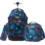 Boys Rolling Backpack Kids Backpack with Lunch Box Wheels Backpacks for Boys for School 18inch Roller Luggage
