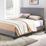 Smile Back Upholstered Queen Bed Frame, Queen Size Bed Frame with Geometric Pattern Headboard, No Box Spring Needed, Wingback Platform Bed Queen, Floor Bed Frame, Mattress Foundation, Grey