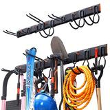 Homeon Wheels Tools Storage Rack, Wall Mount Tools Home and garage wall organization,with 9 Hooks can Easily Hold Up To Max-380 lbs, For Shovels, Rakes, Booms, Maps , Garage Tools or Garden Tools