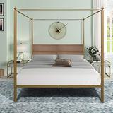 Queen Size Metal Canopy Bed with Sturdy Bed Frame,4-Post Metal Canopy Bed Frame with Headboard,Heavy Duty Platform Mattress Foundation, No Box Spring Needed, Easy Assembly (Gold)