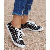 ROSY Women's Sneakers Black - Black & White Polka Dot Sneaker - Women