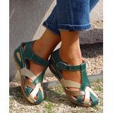 YASIRUN Women's Sandals Green - Green Color Block Closed-Toe Sandal - Women