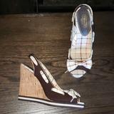 Coach Shoes | Coach Twirling Cork Slingback Peeptoe Wedge Pump 7 | Color: Brown/Tan | Size: 7