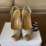 Nine West Shoes   Gold Sparkly Peep Toe Platform Cork Wedge Sandal   Color: Gold/Tan   Size: 7