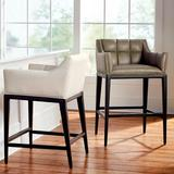 """Gramercy Bar & Counter Stool with Arms in Dark Espresso - Performance Linen Green Clay Bar Height, Performance, 30"""" Bar Height, Special Order - Frontgate"""