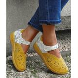 YASIRUN Women's Sandals Yellow - Yellow Floral Contrast Perforated Ankle-Strap Flat - Women