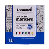 Dry Erase Markers Fine Tip Set of 36 with Eraser, Low Odor Smudge-Free Ink White Board Markers, 6 Assorted Colors, Whiteboard Markers for Adults and Kids, Office Supplies for School, Office, or Home
