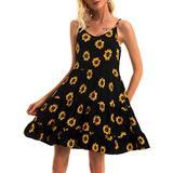 FENSACE Babydoll Boho Dresses for Women Slip V Neck Casual Boho Wedding Dresses(XX-Large,Daisy)