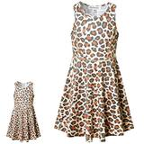 Perfashion Matching Girls Doll Dress Leopard Print Outfits 18 inch Summer Sleeveless Sundress with Pocket 8 9