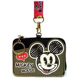 Mickey Mouse PU Leather Wallet ID Credit Card Holder Cash Coin Purse Pouch Lanyard w/Keychain