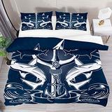 FOLPPLY Hammerhead Shark Nautical Anchor Duvet Cover Set, California King Bedding Set 3 Pieces, Comforter Sheet Set with Pillow Shams Room Decor for Boys Girls Teens Adults