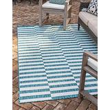 Unique Loom Outdoor Collection Classic Stripes, Transitional Indoor & Outdoor Area Rug, 7' 0 x 10' 0 Rectangle, Teal/Ivory