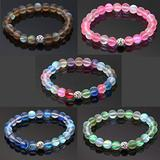 5Pcs Mystic Mermaid Glass Friendship Bracelet with 8 mm Frosted White Glowing Moonstone Beads Stretch Bracelet with Rhistone Love Charm for Women Girl Jewelry (1)