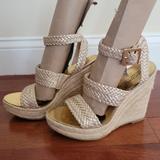 Michael Kors Shoes   Michael Kors Gold Espadrille Wedge Sandals   7.5   Color: Gold/Tan   Size: 7.5