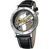 Men's Skeleton Watch Unique Automatic Watch Leather Strap Men Watches (Black)