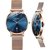 Lady Watches Rose Gold Thin Wrist Watch Waterproof with Calendar for Women OLEVS Mesh Stainless Steel Watch Easy Read Deep Blue Fashion Elegant Casual Dress Watch Analog Japanese Movements.