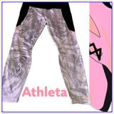 Athleta Pants & Jumpsuits | Athleta Marbled Color Block Leggings 78 White Pink Mesh Detail | Color: Black/White | Size: L